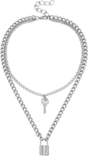 Amaae® NEW Lock Key Pendant Padlock Charm Necklace Chain Women Jewelry Gift(Material:Metal,Color:Silver)