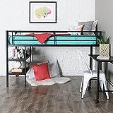 Walker Edison Metal Twin Low Loft Bunk Desk Kids Bed Bedroom Storage Guard Rail Ladder, Black