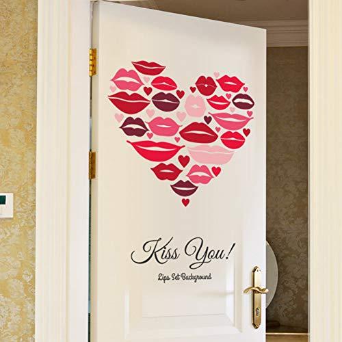 ZYBKOG Wandaufkleber DIY Roten Lippen Drucken Liebe Herz Wandaufkleber Küssen Sie Ihre Romantische Schlafzimmer Kleiderschrank Tür Aufkle