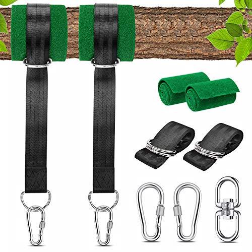 SUNGYIN Schaukel Befestigung, Hängematte Befestigung Schaukel Aufhängung Gurt Kit Max 550 Kg mit 2 Premium Karabinern und D-Ringen mit 2 Baumschutz Polster und Aufbewahrungstasche
