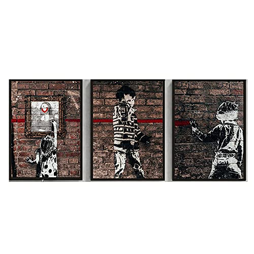 Banksy Graffiti Arte Impresiones Monalisa NiñO Poster Graffiti Pared Arte Cuadro Moderno con Estilo Lienzo Pinturas Salon Decoracion 40x50cmx3 No Marco
