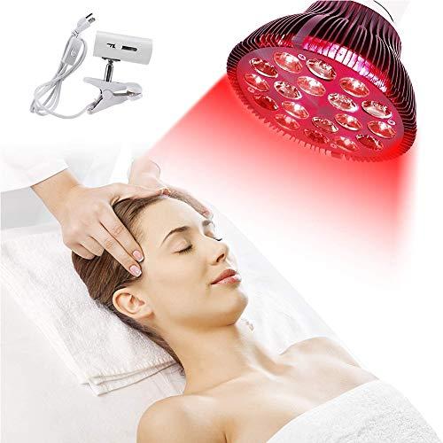 EFGSbed Rotlichtlampe, 54W Rote Light Beauty Licht, 18 LED Rote Bulb Massage, 660 Nm Und 850 Nm, Rotlicht Led Lampe Für Anti-Aging, Bleaching, Muskel Gelenkschmerzen, Weihnachten Geschenk