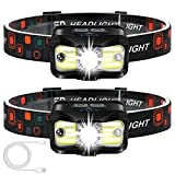 Headlamp Rechargeable, ALIPRET 1100 Lumen Super Bright Motion Sensor Head Lamp flashlight, 2-PACK Waterproof LED Headlight with White Red Light, 8 Modes Head Lights for Camping Cycling Running Fishing