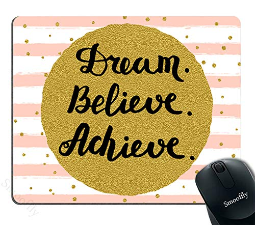 Smooffly Gaming Mouse Pad Custom,Dream Believe Achieve Gold Dots Mouse Pad - Neoprene Inspirational Quote Mousepad