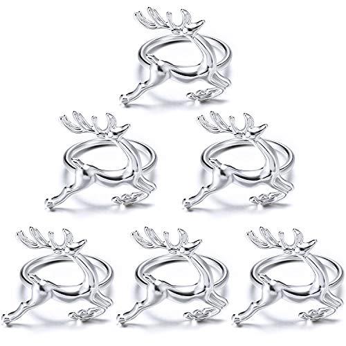 WILLBOND Weihnachten Servietten Ringe Halter für Weihnachten Abendessen Party, Hochzeit Schmuck, Tisch Dekoration Zubehör (Hirsch, 6)