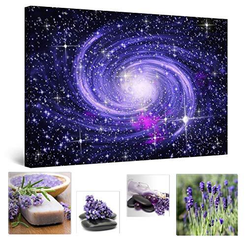Eco Light Wall Art Bundle Sur Toile Impressionnante sur toile Bleu Galaxy Univers abstrait 60 x 90 cm pour décoration intérieure et Jolie Chambre à coucher Lavande Collage Lot de 4 encadrée illustrations.