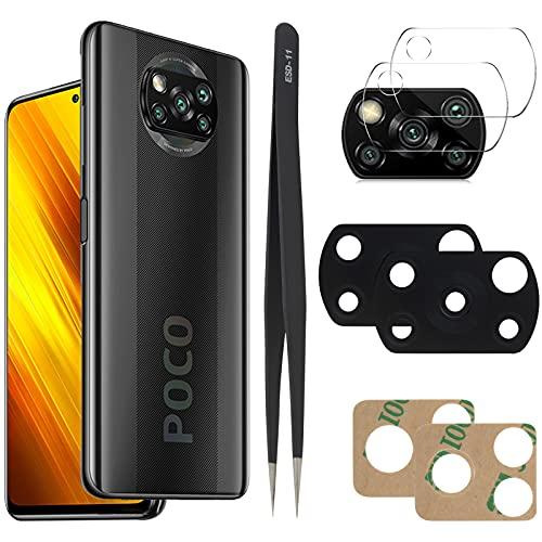 YHX-OU Para Xiaomi Poco x3 NFC Mi 10T Lite Poco X3 Poco X3 Pro Lente de cristal cámara trasera [3 unidades] con pinzas + 3 cámaras de cristal templado