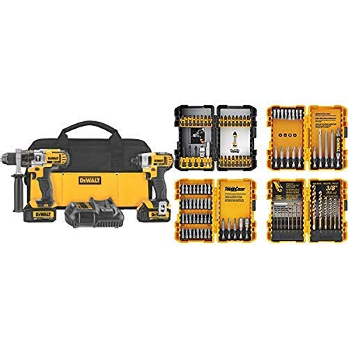DEWALT 20V MAX Impact Driver and Hammer Drill Combo Kit (DCK290L2) with DEWALT DWA2FTS100 Screwdriving and Drilling Set, 100 Piece