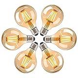 Edison Vintage Bombilla LED E27, HISAYSY Bombilla LED E27 Retro, 4W Luz Cálida Protección Ocular, E27 Vintage Bombilla 2700K 400LM Energía Eficiente Extra Larga Vida-Paquete de 6