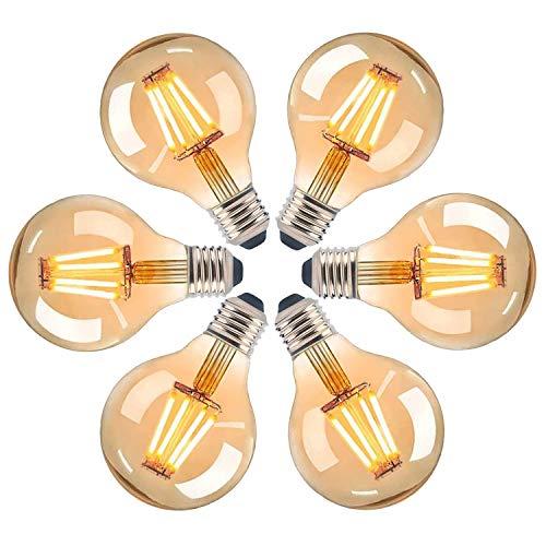 Edison Ampoule E27 Vintage, Ampoule Vintage Led Décorative HISAYSY 220V 4W(équivalent à 40W) Protection Oculaire Jaune Chaud, Ampoule Rétro LED 2700K 400LM Bouchon à vis, Longue durée de vie-6 pièces
