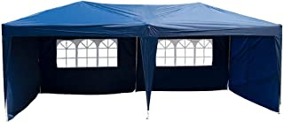 Polar Aurora 10' X 20' Easy Pop up Canopy Party Tent Outdoor Patio Wedding Party Tent Folding Waterproof w/ 4 Removable Sidewalls and Portable Bag -Blue