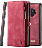 Galaxy S9 Wallet Phone Detachable Case XRPow Samsung S9 Multi-Functional Folio Flip Vegan Leather Wallet Removable Magnetic Back Cover 11 Card Slots & 3 Cash Pocket Shock Protection Cover RED