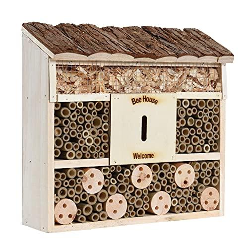 ESTEXO Insektenhotel Insektenhaus Nistkasten Brutkasten Insekten Hotel Holz Bienen Unterschlupf Schmetterling (29,5x28,5x10 cm)