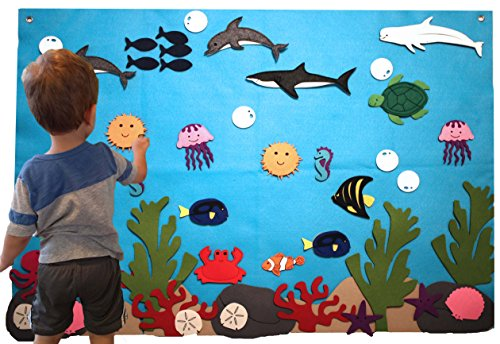 Felt Flannel Board Under The Sea Ocean Aquarium Fish Animals Deluxe Set Giant 3.5 Ft 50+ Pieces Wall Hanging Interactive Play Kit Educational Teacher Aide