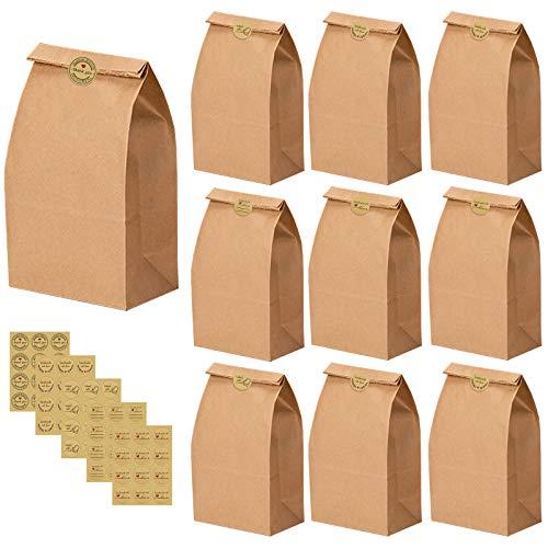 50 bolsas de papel kraft, bolsas de papel marrón, bolsas de regalo para fiestas con 60 pegatinas, bolsas de papel de fondo plano, bolsas de regalo, dulces, para cumpleaños, bodas, fiestas
