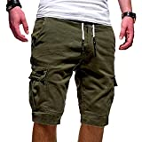 Yidarton Shorts Hommes Ete Outdoor Cotton Casual Bermudas Cargo Couleur Unie Lâche Pantalon Court (A-Armée Verte, Large)