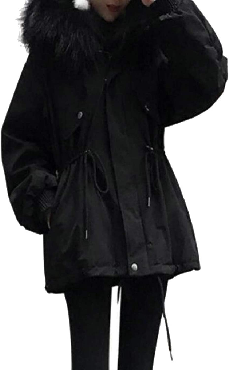 LEISHOP Women's Cargo Mid Long Hooded Thicken Drawstring Down Jacket Coat