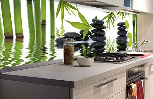 DIMEX LINE Küchenrückwand Folie selbstklebend Zen Steine   Klebefolie - Dekofolie - Spritzschutz für Küche   Premium QUALITÄT - Made in EU   180 cm x 60 cm