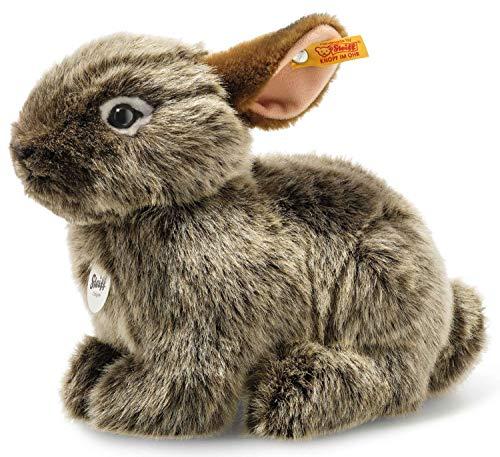 Steiff 024368 Original Plüschtier Vula Vulkan Kaninchen, National Geographic Kuscheltier ca. 23 cm, Markenplüsch mit Knopf im Ohr, Schmusefreund für Babys von Geburt an, Graubraun