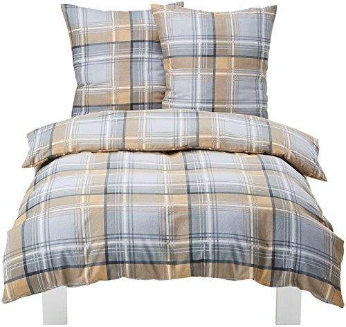 AmazonBasics Lightweight Flannel Duvet Set, Grey Check
