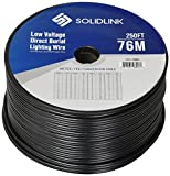 SolidLink - 700007 250ft Low Voltage 12/2 Direct Burial Bare Copper Lighting Wire Parallel Flat-Twin Cable for Landscape Lights, Black