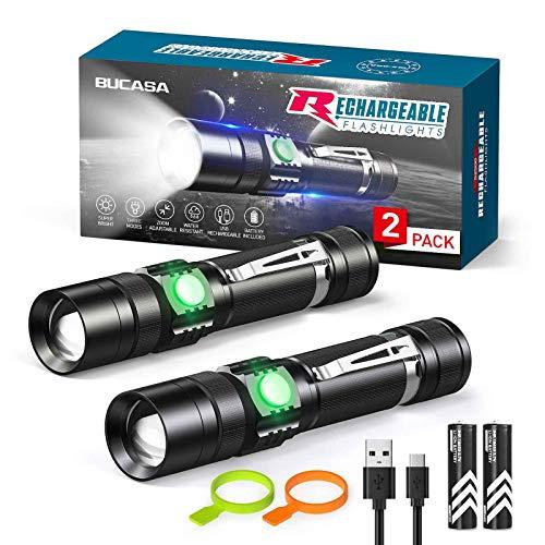RECHOO LED Taschenlampe USB Aufladbar[2 Pack], Extrem Hell Taschenlampe mit 2 18650 Batterie, IP65 Wasserdicht Flashlight Zoombar, 4 Modi Taktische Taschenlampe für Outdoor Camping Wandern Notfall