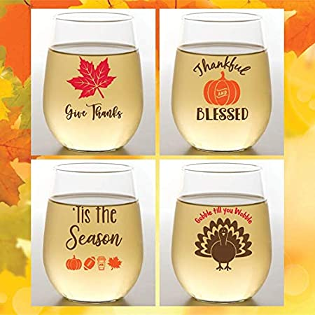 16 oz Shatterproof Plastic Stemless Wine Glasses CHRISTMAS Set of 4 Wine-Oh