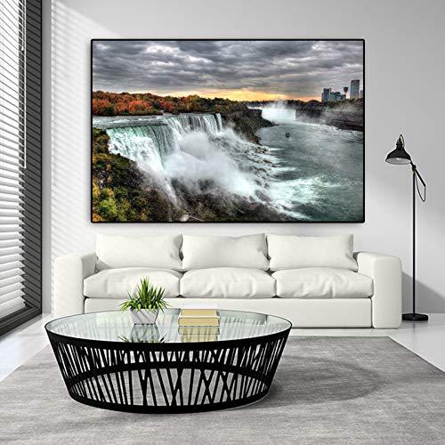 jiushice Telaio Stampa su Tela Cascata del Niagara Tela di Quadri Moderni per pareti Poster per Soggiorno Quadro Quadro Decorativo per la casa 30x40cm