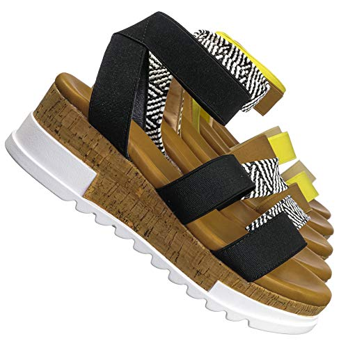 Bohemian Elastic Footbed Flatform - Women Cork Lug Sole Strappy Sandal
