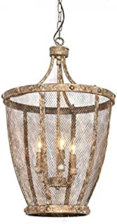 Deluxe Lamp Entry Foyer Pendant Wrought Iron Chicken Wire Basket Chandelier Zadie Caged Collection Industrial Antique Lustre & Hanging Lights