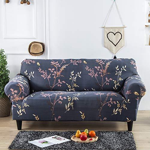 Sofabezug für 2-Sitzer, I Shape Love Seat Sofa-Schonbezug blau grau Blumendruck hoch dehnbar rutschfest Polyester und Spandex-Stoff, inklusive 1 x Sofabezug und 1 x Kissenbezug, tierfreundlich