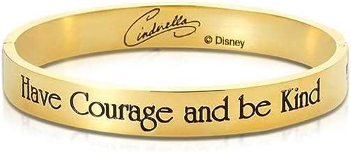 Disney Couture Kingdom - Brazalete de Princesa Chapado en Oro con Texto en inglés Have Courage Be Kind Cinderela