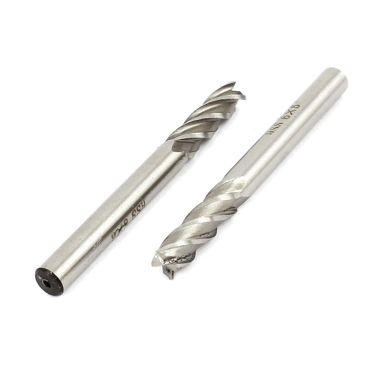 なだめるスキー円形uxcell ストレートシャンクエンドミル 6mmシャンク径 6mm切削直径 2個入り