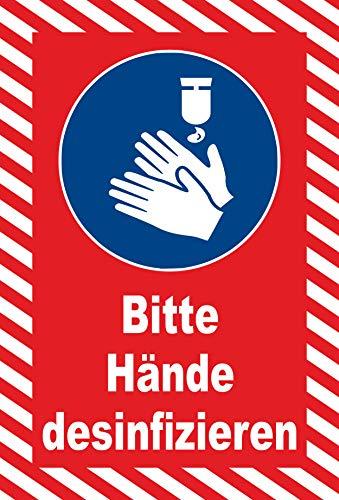 Schild 30x20cm Bitte Hände desinfizieren - 3mm Hartschaum - 20 Varianten