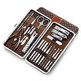 Juego de manicura, 21 en 1 Juego de cortaúñas profesional de acero inoxidable Juego de herramientas portátiles de aseo para pedicura de viaje,con estuche de viaje de cuero, para viajes y hogar(marrón)