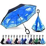 ZOMAKE Inverted Stockschirme, Innovative Schirme Double Layer, Winddicht Regenschirm, Freie Hand,Umgedrehter Regenschirm mit C Griff für Auto Outdoor (Blauer Himmel und weiße Wolken)