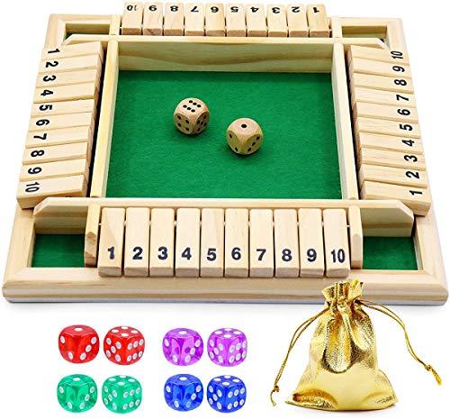 4 - Jugador cierra la caja juego de mesa de madera clásico juguete de tablero de dados, clásico juego de matemáticas familiar de 4 lados con 10 dados para niños adultos de 2 a 4 jugadores (rojo)
