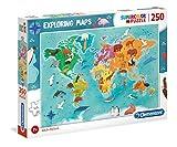 Clementoni Puzzle Mapa 250 Piezas Mundo-Animales, Color (29063.5)