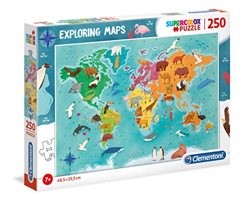 Clementoni - 29063 - Exploring Maps - Animals In The World - 250 Pezzi - Made In Italy - Puzzle Bambini 7 Anni +