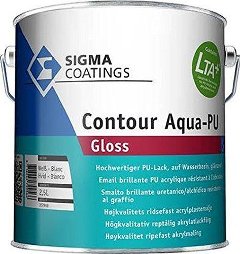 Sigma Coatings Contour Aqua PU-Gloss Premium PU Lack Zwischen und Schlussbeschichtung Weiß Glänzend innen&außen 2,5 Liter