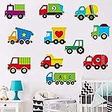 WENJZJ Stickers muraux Dessin animé Camion Stickers muraux en Vinyle Amovibles Auto-adhésifs Chambre d'enfant Chambre d'enfant décoration Maternelle