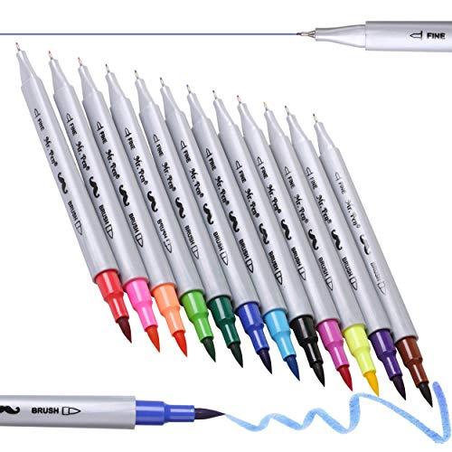 Mr. Pen- Dual Tip Brush Pens, 12 Colors, Brush Pens, Brush Markers, Dual Brush Pens, Markers for Kids Adults Coloring No Bleed, Art Markers for Adults, Dual Tip Markers, Bible Journaling.