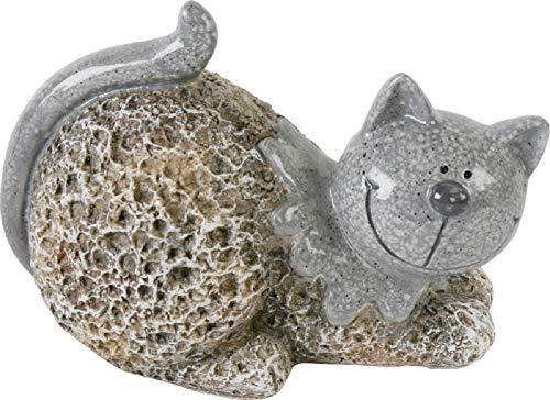 Home Collection Lustige liegende Katze Garten Deko im Stein Look 12,9x10,7x17,5cm Keramik