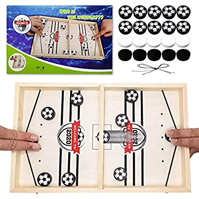 Toydaze Sling Foosball Fast Sling Puck Board Game with Black & White Pucks (Total 20) for Easy Distinguish, Slingpuck Board Game for Child, Adult, Portable Travel Foosball Slingshot Winner Board Game