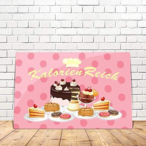 Blechschild Kuchen lustig mit Spruch Kalorien Reich 20x30 cm Metallschild Kaffee Küche Sprüche Geschenk Dekoschild Torte Cupcake Schild Vintage Rosa