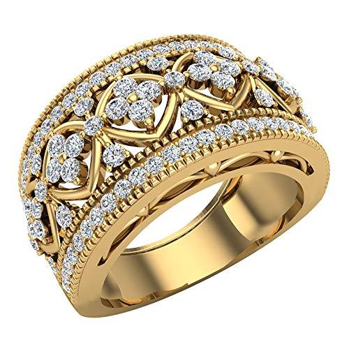0,95Ct Tw cóctel Anillo con diamante estilo de filigrana 14K oro (G, si)