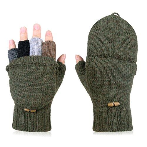 AOKAY Winter Handschuhe Fingerlose Fäustlinge Damen Fingerhandschuhe Fingerlos Handschuhe Strick Handschuhe mit Flip Top (Armeegrün)