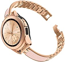 TOYOUTHS Stylish Strap Compatible with Samsung Galaxy Watch 42mm Bands Women Replacement Wristband for Galaxy Active 2 40mm 44mm/Gear S2 Classic/Gear Sport Stainless Steel Metal+Leather Rose Gold