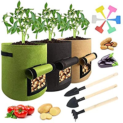 Hello Sunshine Fabric Plant Grow Bag Potato Planter Bag Nonwoven Pot Indoor Outdoor Gardening Bag with Window and Handle for Vegetables Fruit 15 Pcs (3 Bags + 6 Piece Shovel Set+6 Labels)