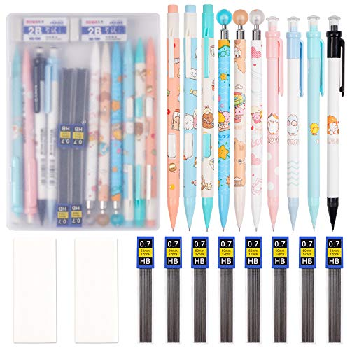 21pcs Mechanical Pencil Set 10 Pieces 07 mm Mechanical Pencils with 8 Cases Lead Refills and 2 pieces Erasers with Clear Plastic Box for Writing Drawing Signature